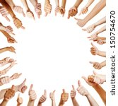 people in a circle holding... | Shutterstock . vector #150754670