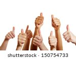 group of people holds many... | Shutterstock . vector #150754733