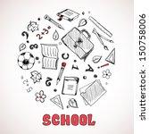 sketch of school elements. hand ... | Shutterstock .eps vector #150758006