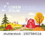 Autumn Landscape With Red Barn. ...