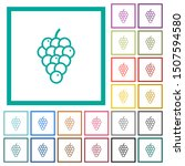 grapes flat color icons with... | Shutterstock .eps vector #1507594580