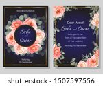 vector floral wedding... | Shutterstock .eps vector #1507597556
