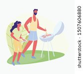 man and woman roast sausages... | Shutterstock .eps vector #1507606880