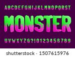 monster alphabet font. hand... | Shutterstock .eps vector #1507615976