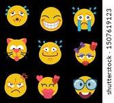 cute cartoon face emotion mood...   Shutterstock .eps vector #1507619123