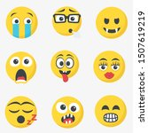 cute cartoon face emotion mood... | Shutterstock .eps vector #1507619219
