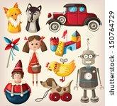 set of colorful vintage... | Shutterstock .eps vector #150764729