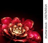 Pink Fractal Flower With Golde...