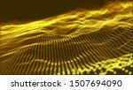 abstract golden particle wave ...
