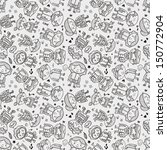seamless doodle family pattern  | Shutterstock .eps vector #150772904