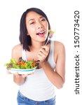 beautiful healthy woman holding ... | Shutterstock . vector #150773420