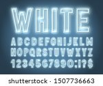 neon white font  light alphabet ... | Shutterstock .eps vector #1507736663