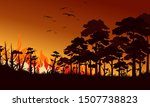 Fire In Forest Flat Vector...