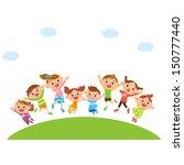 jumping children | Shutterstock .eps vector #150777440