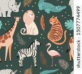 cute exotic animals dark... | Shutterstock .eps vector #1507774499
