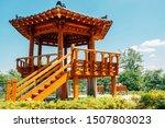 Korean traditional pavilion at Wangsong Lake park in Uiwang, Korea