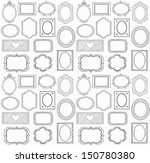 seamless doodle frame set. . in ... | Shutterstock . vector #150780380