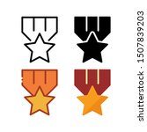 award medal icon. with outline  ...