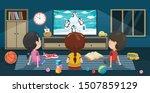 children watching television in ... | Shutterstock .eps vector #1507859129