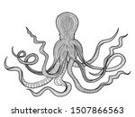 squid black and white ... | Shutterstock . vector #1507866563