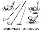 golf clubs and a ball. retro...   Shutterstock .eps vector #1508009429