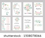 set of cards with roses leaves... | Shutterstock .eps vector #1508078066