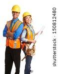 happy attractive construction... | Shutterstock . vector #150812480
