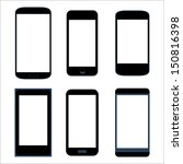 Isolated icon silhouette set smartphone mobile tablet pc vector eps10