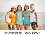 multiethnic group of girls at... | Shutterstock . vector #150818924