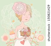 beautiful bride with flowers in ... | Shutterstock .eps vector #150821429