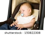 baby boy is sitting in safety... | Shutterstock . vector #150822308
