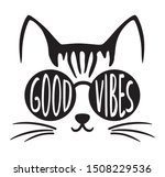 cute good vibes cat wearing... | Shutterstock .eps vector #1508229536
