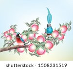 a painting of two birds perched ... | Shutterstock .eps vector #1508231519