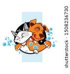 Stock vector cat dog cartoon in vector 1508236730
