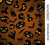 halloween seamless pattern with ... | Shutterstock .eps vector #150824144