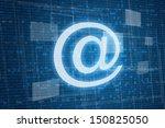 Arroba symbol on digital background, internet concept  - stock photo