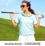 pretty female golfer relaxing... | Shutterstock . vector #150828008