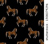 Seamless Pattern With Horses In ...