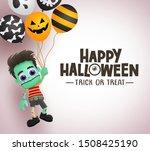 happy halloween zombie... | Shutterstock .eps vector #1508425190