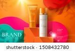 sunscreen product ads on orange ... | Shutterstock .eps vector #1508432780