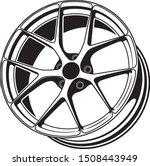 car wheel rim vector silhouette ...