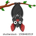 bat hanging on a tree branch... | Shutterstock .eps vector #1508483519