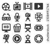 cinema and movie icons set on... | Shutterstock .eps vector #1508491766