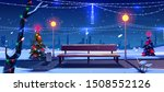 Christmas in night city park, empty public garden with decorated fir-trees, bench and lighting garlands. Winter cityview landscape, Urban place for walking and recreation Cartoon vector illustration