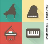 vector piano icons | Shutterstock .eps vector #150858959