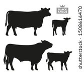 Set Of Cows. Black Silhouette...