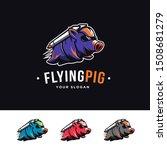 Flying Rocket Pig Mascot...