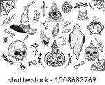 hand drawn halloween themed... | Shutterstock .eps vector #1508683769