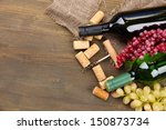 bottles of wine  grapes and... | Shutterstock . vector #150873734