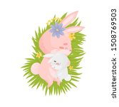 Stock vector mom hare sleeping with her son a hare vector illustration on a white background 1508769503